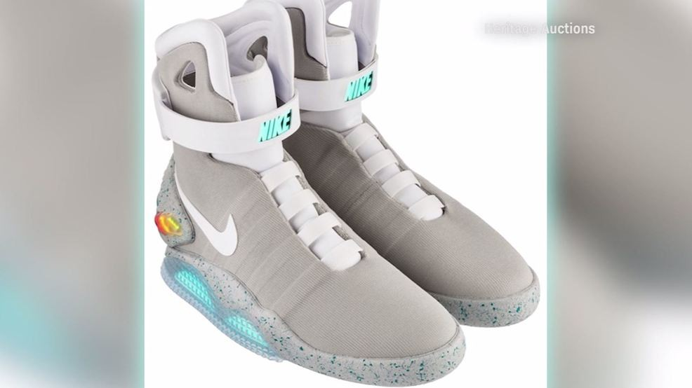 33176f3bf1 A pair of 2016 Nike Air Mags, made famous by Michael J. Fox's character  Marty McFly in the '80s hit Back to the Future Part 2, sold for a  ridiculous $52,500 ...