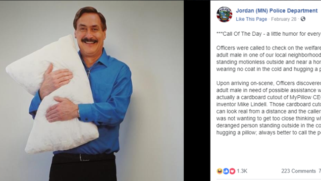 Caller Alerts Police To Cardboard Cutout Of Mypillow Ceo Standing In The Cold Wkrc