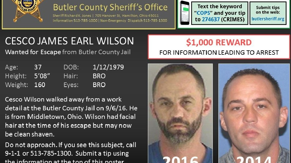 $1,000 reward for escaped Butler County inmate | WKRC