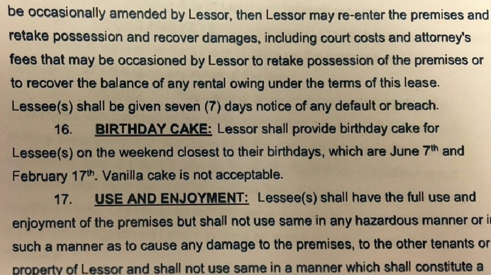 Tenant sneaks in clause in lease about birthday cake | WKRC
